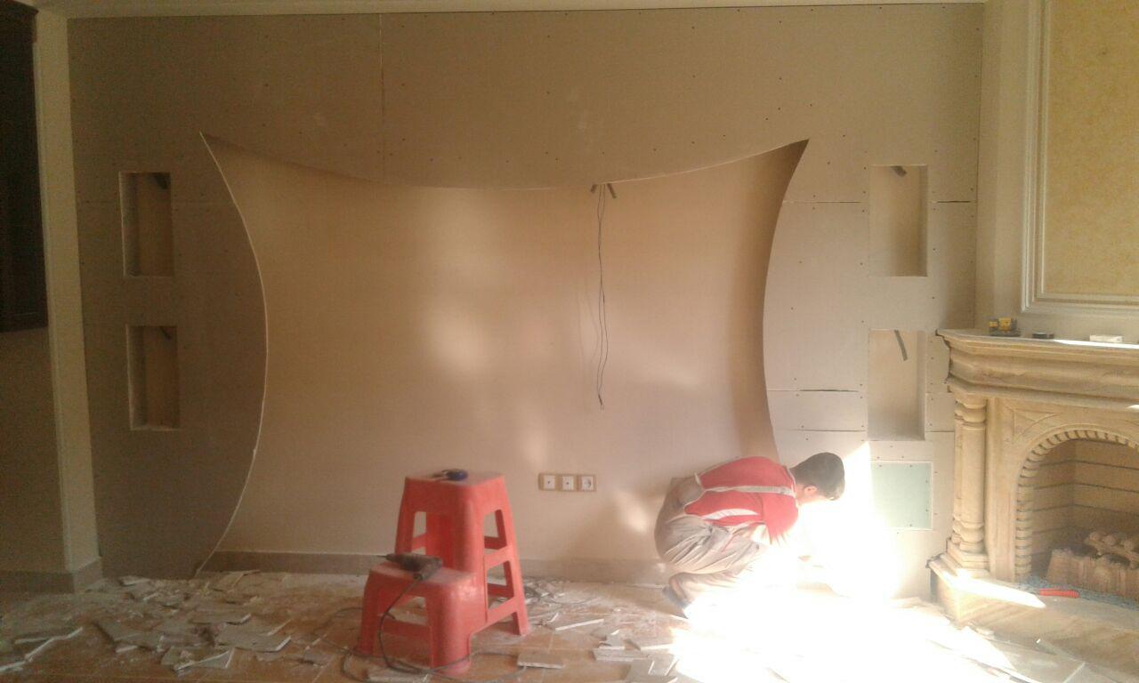 نمونه کار تکمیل نشده دیوار ال سی دی